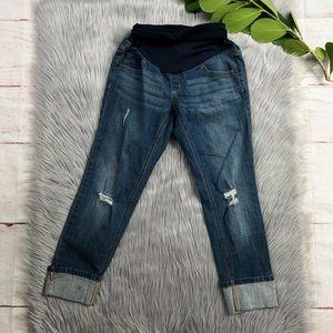 Indigo Blue Destroyed Cuffed Maternity Jeans XS